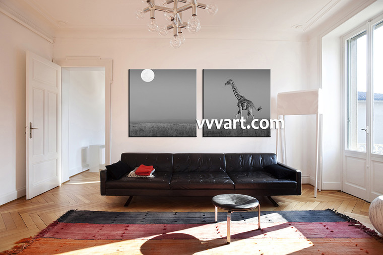 living room Wall Art, 2 Piece huge canvas art, giraffe multi panel art, animal wall art, wild huge pictures