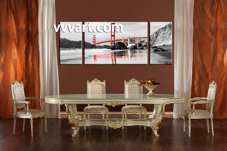 Dining Room Art, 3 piece canvas art prints, landscape pictures, city pictures, ocean multi panel art, black and white canvas photography
