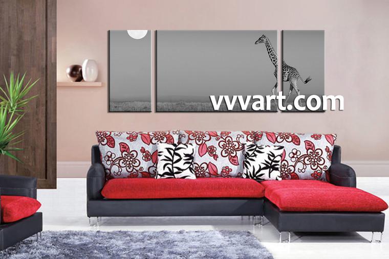 living room Wall Art, 3 Piece huge canvas art, giraffe multi panel art, animal wall art, wild canvas wall art