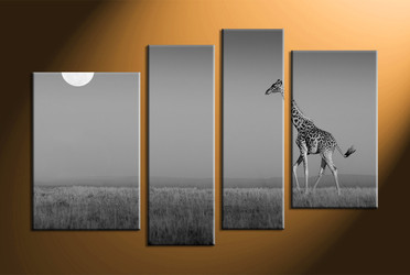 home decor,4 piece canvas art prints, black and white pictures, wild canvas print,  animal group canvas