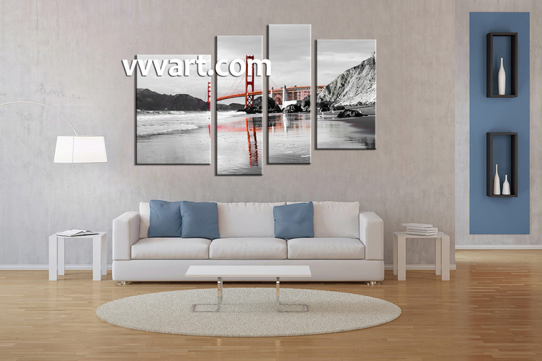 Living Room Art, 4 piece canvas wall art, landscape wall art, city canvas wall art, black and white wall art, city photo canvas