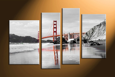 Home Décor, 4 piece canvas art prints, black and white canvas print, landscape large canvas, city group canvas