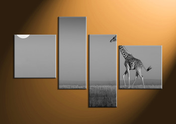 home decor,4 piece canvas art prints, black and white canvas print, wild canvas print,  animal canvas art prints