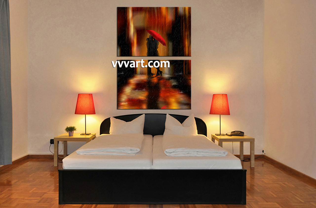 2 Piece Modern Red Umbrella Canvas Photography