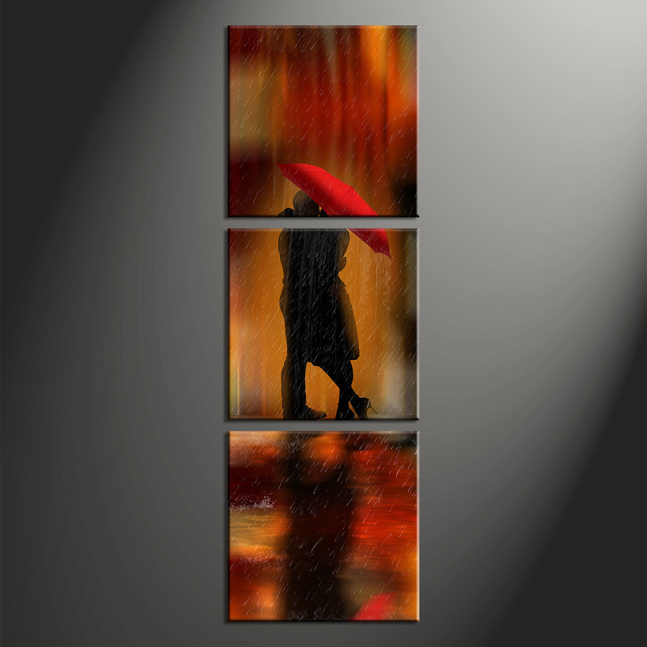 3 Piece Red Modern Rain Photo Canvas