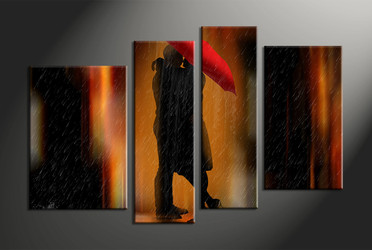 Home Wall Decor, 4 piece canvas art prints, abstract wall decor, abstract multi panel canvas, umbrella canvas photography