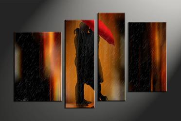 Home Wall Decor, 4 piece canvas art prints, abstract wall decor, abstract multi panel canvas, umbrella canvas photography