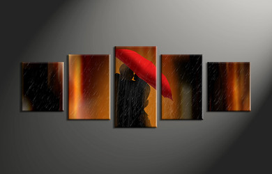 Home Wall Decor, 5 piece canvas wall decor, abstract wall decor, abstract huge pictures, umbrella art
