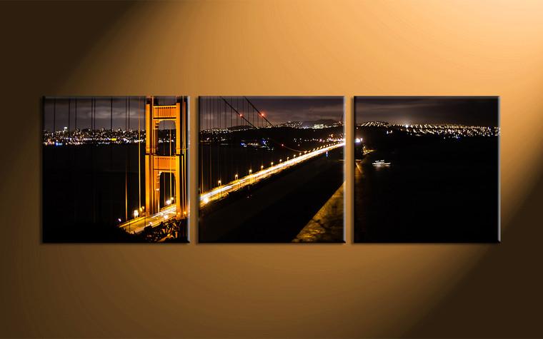 Home Décor, 3 piece canvas art prints, city art, night large pictures, bridge photo canvas