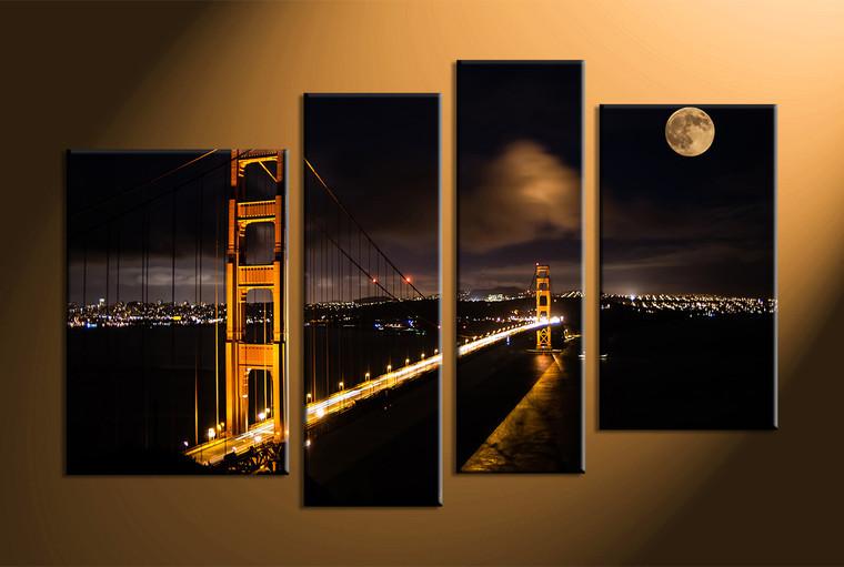 Home Décor, 4 piece canvas art prints, city art, night large pictures, bridge canvas photography