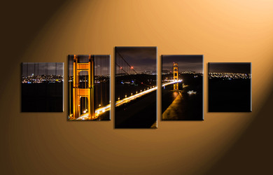 Home Décor, 5 piece canvas art prints, city art, night large pictures, bridge pictures