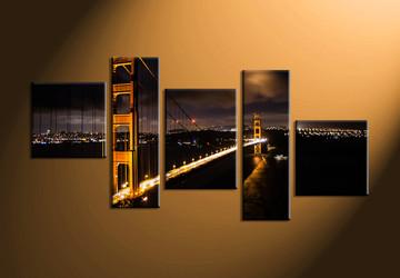 Home Décor, 5 piece canvas art prints, city art, night pictures, bridge large canvas