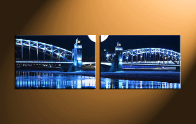 Home Decor, 2 piece canvas art prints, city huge pictures, bridge decor, nature artwork