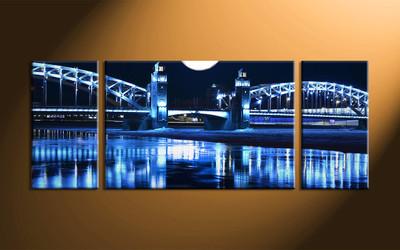 Home Decor, 3 piece canvas art prints, city wall art, night pictures, bridge large canvas