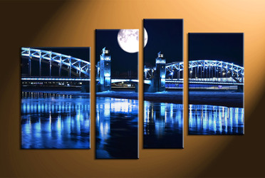 Home Decor, 4 piece canvas art prints, city huge pictures, bridge decor, nature canvas photography