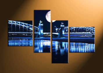 Home Decor, 4 piece canvas art prints, city huge pictures, bridge decor, moon canvas photography