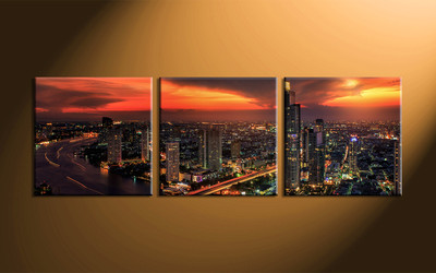 home decor, 3 piece pictures, city light canvas print, city canvas print,  scenery artwork