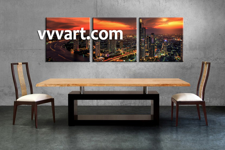 dining room photo canvas, 3 Piece Wall Art, scenery large canvas , city artwork, buildings artwork