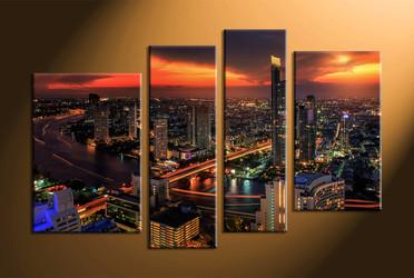 home decor, 4 piece canvas art prints, city light canvas print, city canvas print,  scenery huge pictures