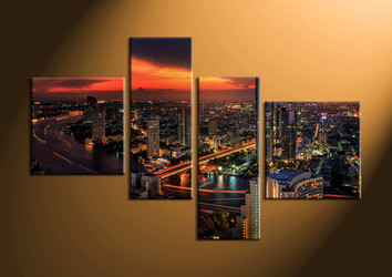 home decor, 4 piece canvas art prints, city light canvas print, city canvas print,  scenery huge pictures