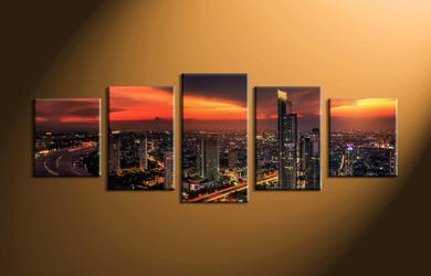 home decor, 5 piece canvas art prints, city light canvas print, city canvas print,  scenery huge pictures