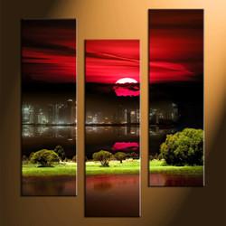 Home Wall Decor, 3 piece canvas art prints, city huge pictures, city landscape decor, nature artwork