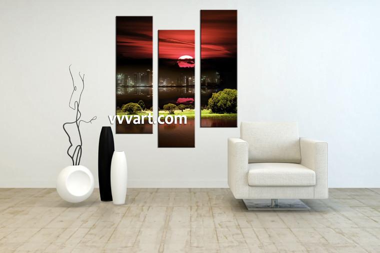 Living Room Artwork, 3 piece canvas wall art, city canvas wall art, nature decor, city landscape photo canvas