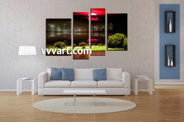 Living Room Artwork, 4 piece canvas wall art, city canvas wall art, nature decor, city landscape canvas art prints
