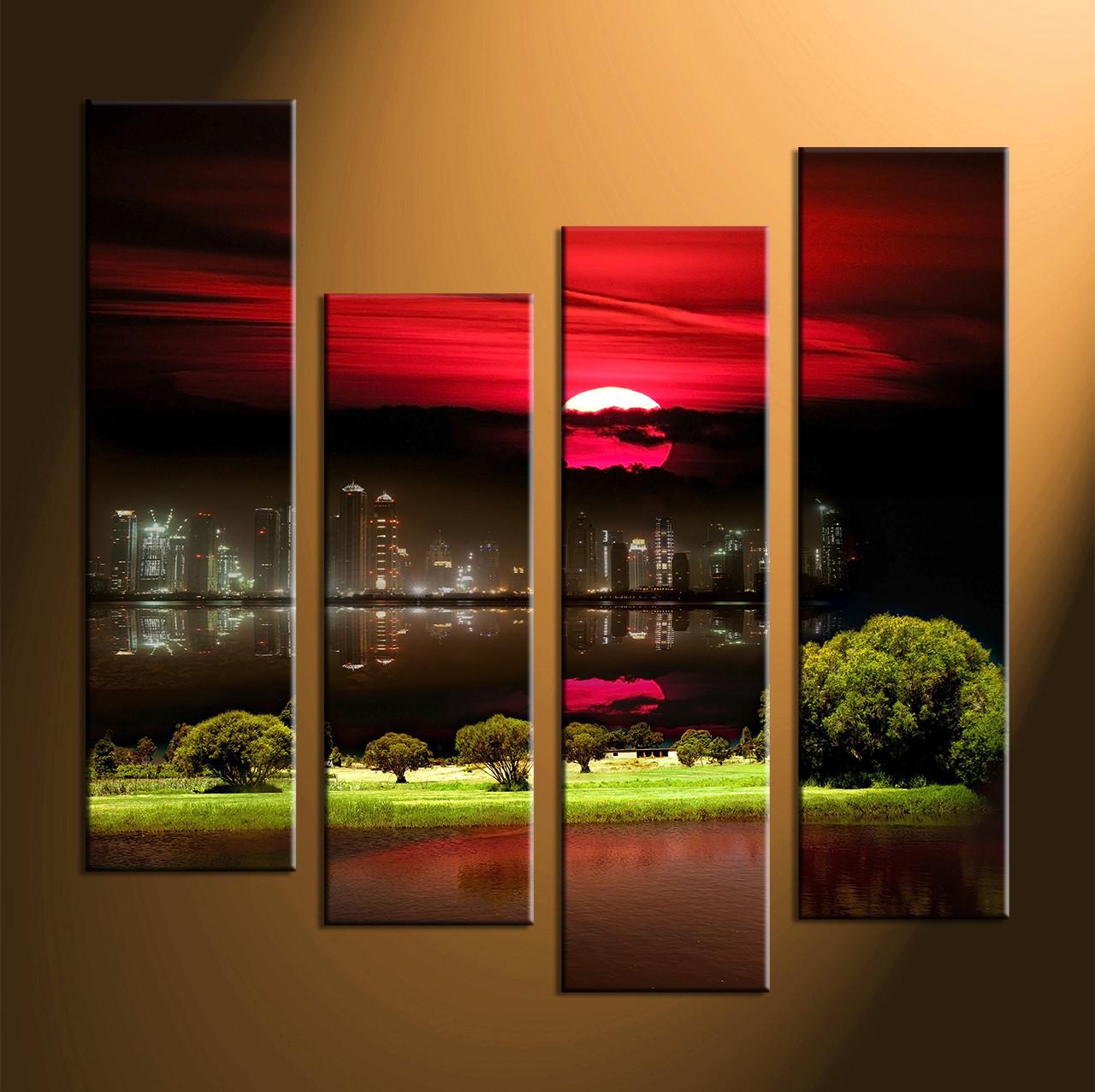 4 Piece Black Red Moon Art,City Grass Large Canvas Prints,Landscape Wall Art
