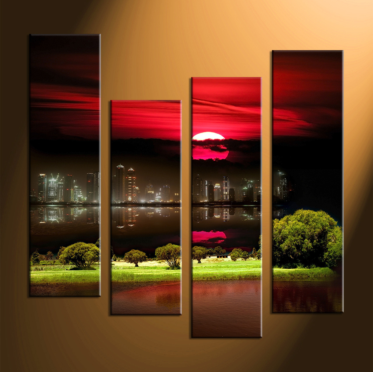 4 piece black red moon artcity grass large canvas printslandscape wall art