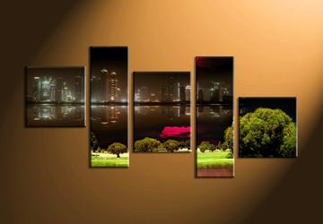 Home Wall Decor, 5 piece canvas art prints, city artwork, city landscape decor, nature huge pictures