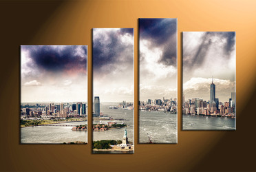 Home wall Decor, 4 piece canvas art prints, city canvas photography, city huge canvas art, city group canvas
