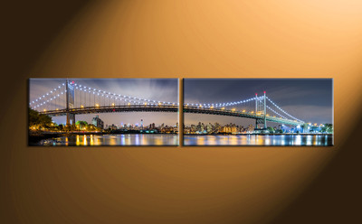 home décor, 2 piece canvas art prints, city light canvas print, bridge canvas print , building huge pictures