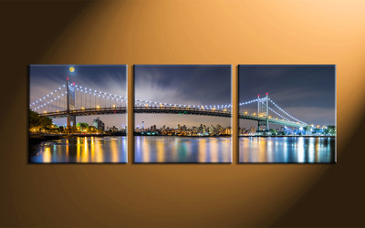home decor, 3 piece canvas art prints, city light canvas print, bridge large canvas  , building huge pictures