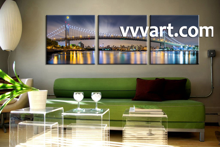 living room multi panel art, 3 Piece huge canvas art, buildings multi panel art, bridge pictures, city huge pictures