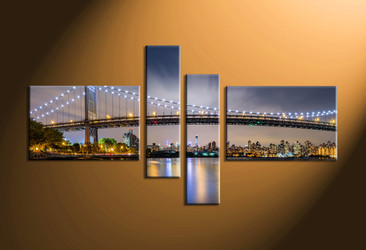 home decor, 4 piece canvas art prints, city light canvas print, bridge wall decor, building huge pictures