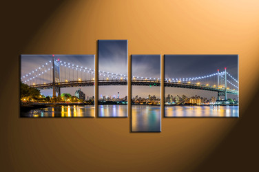 home decor, 4 piece canvas art prints, city light canvas print, bridge wall decor, building canvas art prints