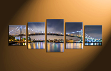 home decor, 5 piece canvas art prints, city light canvas print, bridge wall decor, building multi panel art