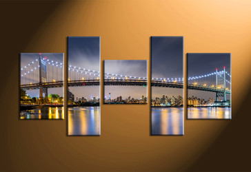 home decor, 5 piece canvas art prints, city light canvas print, bridge wall decor, building multi panel art