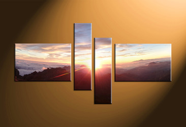 Home Decor, 4 piece canvas art prints, landscape multi panel art, sunrise large canvas, landscape art