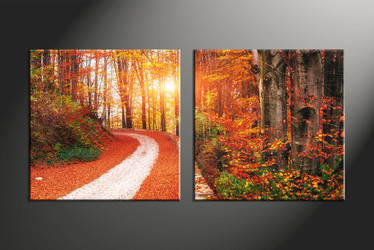 home decor, 2 piece canvas art prints, forest canvas art prints, nature huge canvas art, autumn canvas wall art