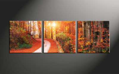 home decor, 3 piece canvas art prints, forest artwork, forest large canvas, scenery wall décor