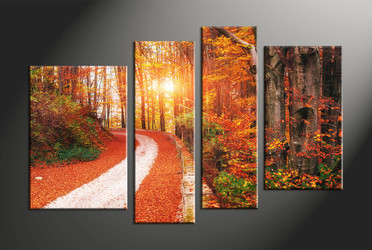 home decor, 4 piece canvas art prints, forest multi panel art, autumn large canvas, landscape art