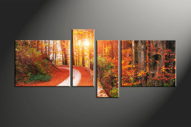 home decor, 4 piece canvas art prints, forest multi panel art, autumn large canvas, landscape multi panel art