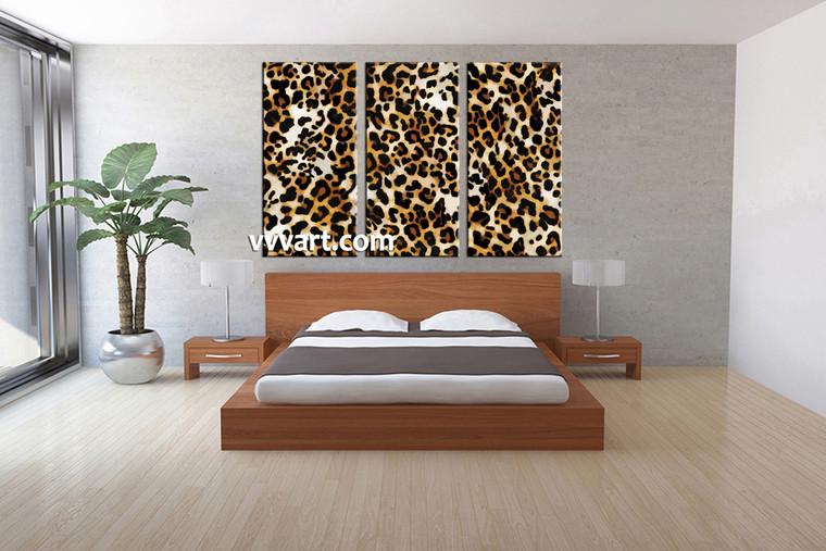 bedroom wall decor, 3 piece pictures,animal decor, wildlife artwork, leopard wall decor