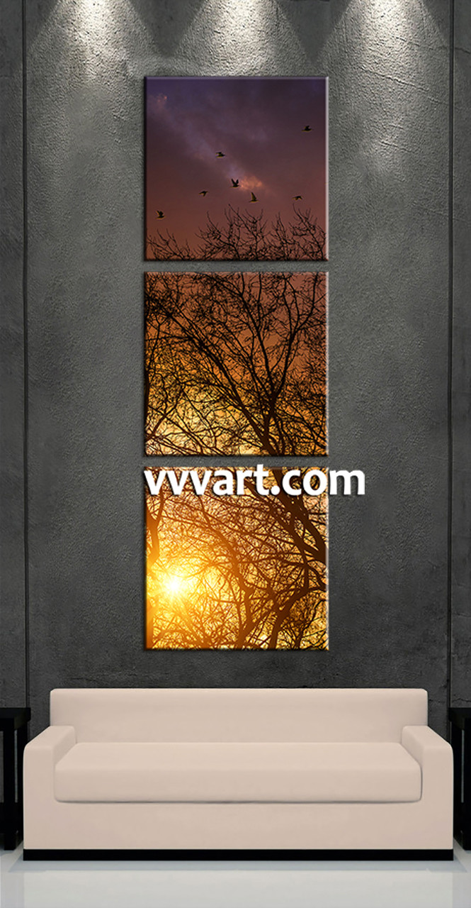 3 Home Decor Trends For Spring Brittany Stager: 3 Piece Yellow Sunrise Scenery Large Pictures