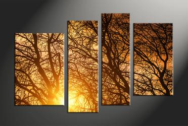 forest large pictures,home decor, 4 piece canvas art prints, scenery canvas art prints, sunrise multi panel art
