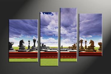 home decor, 4 piece canvas art prints, abstract canvas art prints, modern huge canvas art, pawns canvas wall art