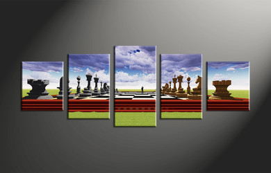 home decor, 5 piece wall art, abstract canvas art prints, modern huge canvas art, pawns large canvas