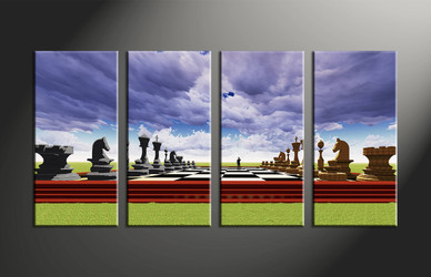 home decor, 4 piece wall art, abstract canvas art prints, modern huge canvas art, pawns large canvas